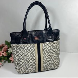 Tommy Hilfiger Black/Cream Leather Monogram Bag